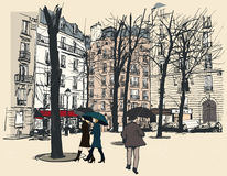 Square in Paris under the rain Stock Image