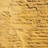 Square part of ochre yellow washed wall Royalty Free Stock Images