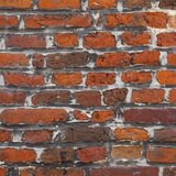 Square part of old red brick wall masonry Stock Photo