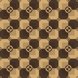 Square pattern in brown and chocolate color. Circle-squares vector seamless pattern in brown and chocolate colors Royalty Free Stock Photography