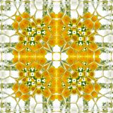 Geometric square pattern of camomile and dandelion in yellow and white vector illustration