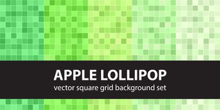 Square pattern set Apple Lollipop. Vector seamless geometric bac. Kgrounds - green squares on light green backdrops Stock Photo