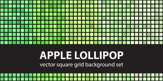 Square pattern set Apple Lollipop. Vector seamless tile backgrou. Nds - green rounded squares on black backdrops Royalty Free Stock Image