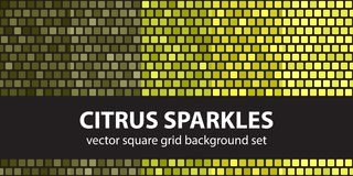 Square pattern set Citrus Sparkles. Vector seamless tile backgro Stock Photography