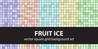 Square pattern set Fruit Ice. Vector seamless tile backgrounds Royalty Free Stock Image
