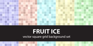 Square pattern set Fruit Ice. Vector seamless tile backgrounds Stock Images