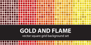 Free Square Pattern Set Gold And Flame. Vector Seamless Tile Backgrou Royalty Free Stock Photo - 113530325