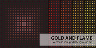 Square pattern set Gold and Flame. Vector seamless geometric bac. Kgrounds - maroon, red, orange, gold, yellow squares on black backdrops Royalty Free Stock Photos
