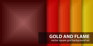 Square pattern set Gold and Flame Stock Image