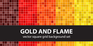 Square pattern set Gold and Flame Stock Photography