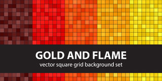 Square pattern set Gold and Flame Stock Photos