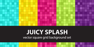 Square pattern set Juicy Splash. Vector seamless geometric backgrounds: cyan, yellow, rose, green, violet squares on dark colored backdrops Stock Photos