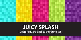 Square pattern set Juicy Splash Stock Photos