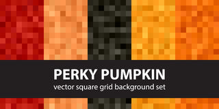 Square pattern set Perky Pumpkin. Vector seamless pixel art backgrounds with red, peach, black, orange, pumpkin squares Stock Photography