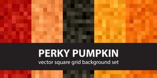 Square pattern set Perky Pumpkin Stock Photography