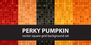 Square pattern set Perky Pumpkin. Vector seamless tile backgroun. Ds - red, peach, black, orange, pumpkin rounded squares on gradient backdrops Stock Photography