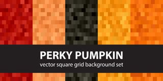 Square pattern set Perky Pumpkin. Vector seamless tile backgroun. Ds with red, peach, black, orange, pumpkin squares Royalty Free Stock Photography