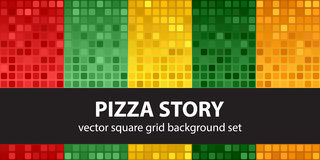 Square pattern set Pizza Story Stock Images