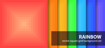 Square pattern set Rainbow. Vector seamless geometric backgrounds: red, orange, yellow, green, cyan, blue, violet squares Stock Photos