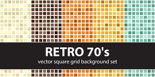 Square pattern set Retro 70s. Vector seamless geometric backgrou. Nds - beige, brown, orange, yellow, green rounded squares on white backdrops Royalty Free Stock Photos