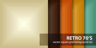 Square pattern set Retro 70s. Vector seamless geometric backgrounds. With beige, brown, orange, yellow, green squares Royalty Free Stock Images