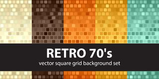 Square pattern set Retro 70s. Vector seamless glowing background. S - beige, brown, orange, yellow, green rounded squares on gradient backdrops Stock Photo