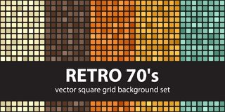 Square pattern set Retro 70s. Vector seamless tile backgrounds. Beige, brown, orange, yellow, green rounded squares on black backdrops Stock Photography