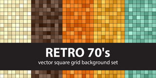 Square pattern set Retro 70s. Vector seamless tile backgrounds Royalty Free Stock Image