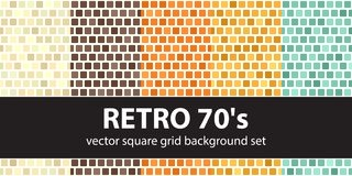 Square pattern set Retro 70s. Vector seamless tile backgrounds Stock Images