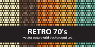 Square pattern set Retro 70s. Vector seamless tile backgrounds. Beige, brown, orange, yellow, green rounded squares on black backdrops Royalty Free Stock Image