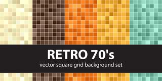 Square pattern set Retro 70s. Vector seamless tile backgrounds. Beige, brown, orange, yellow, green squares on black backdrops Stock Image