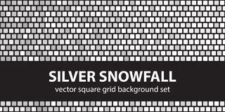Square pattern set Silver Snowfall. Vector seamless tile backgro Royalty Free Stock Images