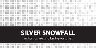 Square pattern set Silver Snowfall. Vector seamless tile backgro. Unds - gray, silver and white rounded squares on white backdrops stock illustration