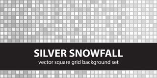 Square pattern set Silver Snowfall. Vector seamless tile  Royalty Free Stock Image