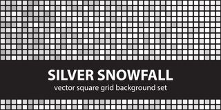 Square pattern set Silver Snowfall. Vector seamless tile stock illustration