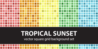 Square pattern set Tropical Sunset. Vector seamless geometric ba Stock Image