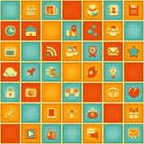 Square Pattern of Social Networking in Retro Colors. Seamless square pattern of social networking icons in retro colors stock illustration