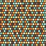 Square pattern. Vector seamless retro background. Beige, brown, orange, yellow, green rounded squares on black backdrop Royalty Free Stock Photos