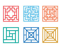 Square pattern window in Chinese style, vector. Design Royalty Free Stock Photo