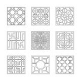 Square patterns Collection of China style Royalty Free Stock Photography