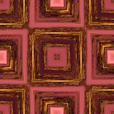 Square patterns on red wood,abstract background tile Stock Image