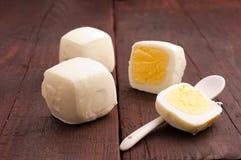 Square, peeled eggs Stock Photo
