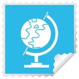 Square peeling sticker cartoon world globe. A creative illustrated square peeling sticker cartoon world globe stock illustration
