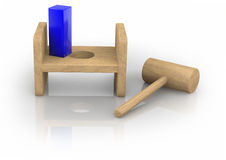 Square Peg in the Round Hole Stock Photo