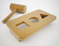 Square peg round hole. 3d high quality render Stock Photo