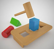 Square peg round hole Royalty Free Stock Images