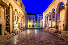 Square Peristil in Split, Croatia. Night view at famous square Peristil in city center of town Split, popular tourist and historic place in Croatia, Europe Royalty Free Stock Photo