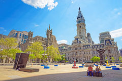 Square at Philadelphia City Hall with sculptures Royalty Free Stock Images
