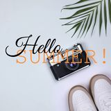 Square photo collage in tropical style hello summer vector illustration