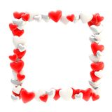 Square photo frame made of hearts isolated Royalty Free Stock Photography